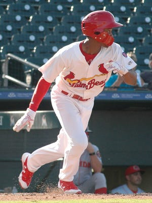 Magneuris Sierra gets a hit recently, playing for the Palm Beach Cardinals at Roger Dean Stadium in Abacoa.