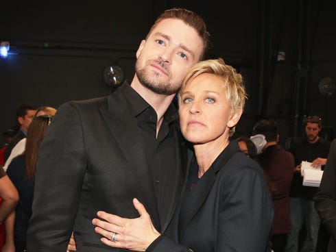 Ellen DeGeneres Justin Timberlake attend the 40th Annual People's Choice Awards at Nokia Theatre L.A. Live on Jan. 8, 2014 in Los Angeles.