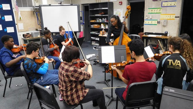 Devan Moore leads students in the Fairview full orchestra program.