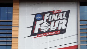A large banner supporting the 2015 Men's Final Four is on the front of the NCAA National Headquarters in downtown Indianapolis.