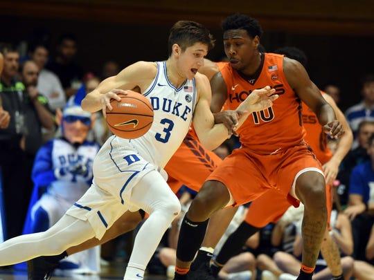 Duke Blue Devils guard Grayson Allen(3) drives to the