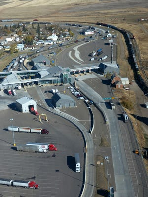 The Port of Sweetgrass as seen from a Homeland Security helicopter.