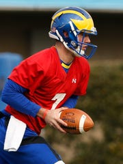 Delaware quarterback Blake Rankin works as the University of Delaware opens its spring practice sessions at Delaware Stadium Tuesday.