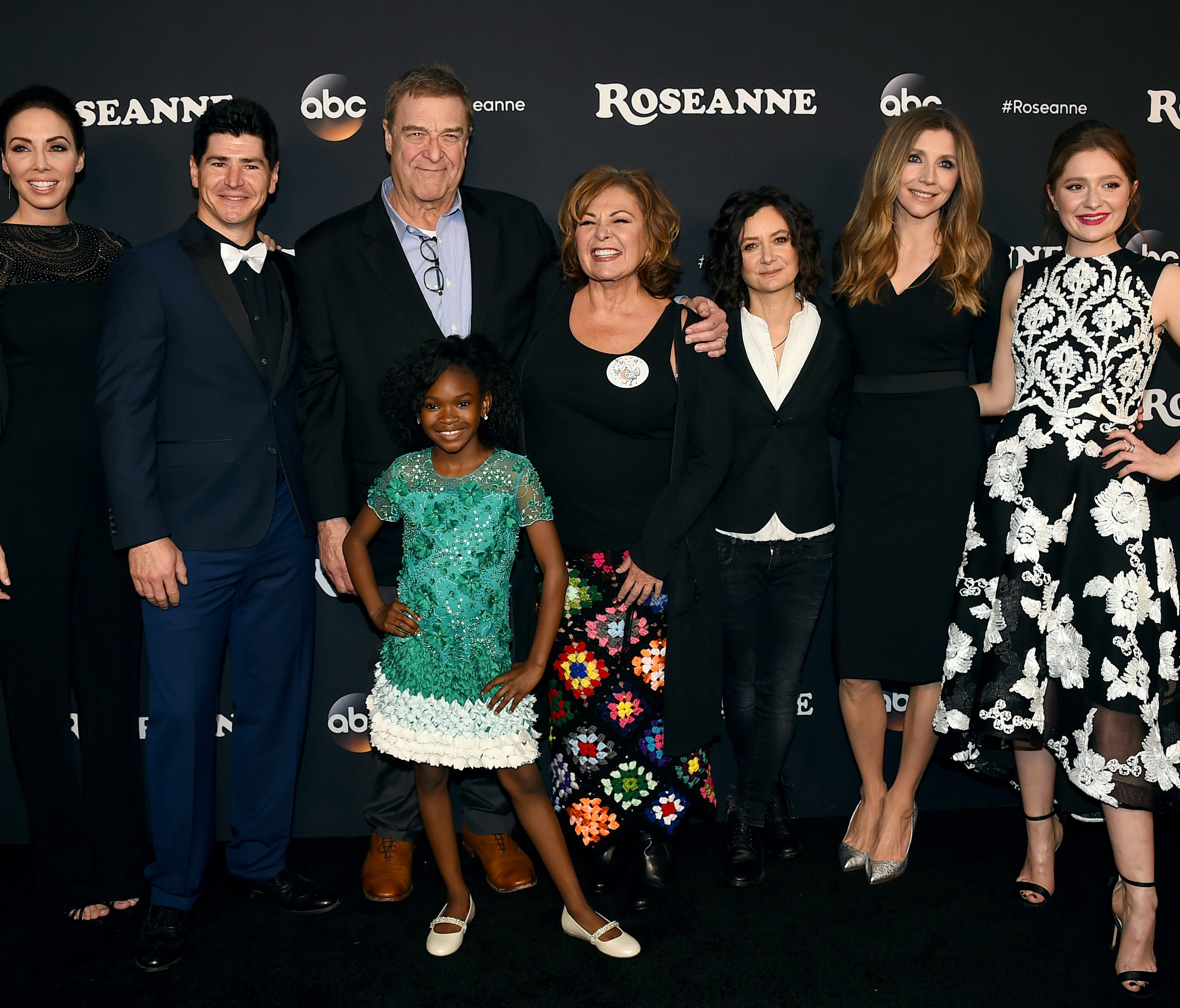 Whitney Cummings, Michael Fishman, John Goodman, Jayden Rey, Roseanne Barr, Sara Gilbert, Sarah Chalke and Emma Kenney arrive at the Los Angeles premiere of