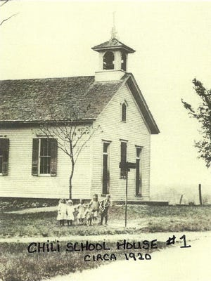 The belfry on the Chili No. 1 one-room schoolhouse is clearly seen in this circa 1920 photo.