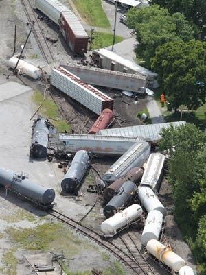 The derailed CSX train in Falmouth, Kentucky. The train, which left Cincinnati Wednesday, was bound for Atlanta, Georgia and derailed at 10:40 a.m.
