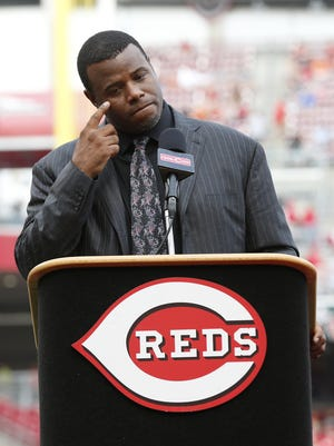 An emotional Ken Griffey Jr. addresses fans during the 2014 Reds Hall of Fame induction at Great American Ball Park.