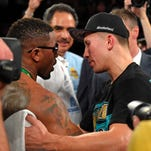 Willie Monroe Jr., right, connects with Gennady Golovkin during a middleweight boxing bout Saturday in Inglewood, California. Golovkin won by TKO in the sixth round.