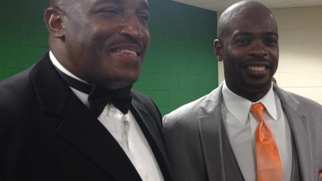 Former Leon football stars Tony Hayes, left, and Terry Mickens were inducted in FAMU's Hall of Fame on Friday night.