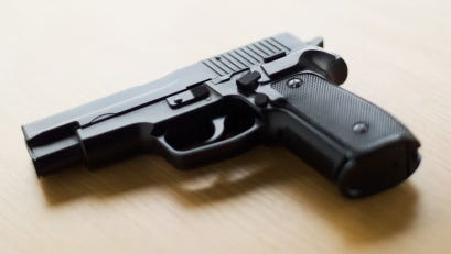 Close-up of a pistol handgun