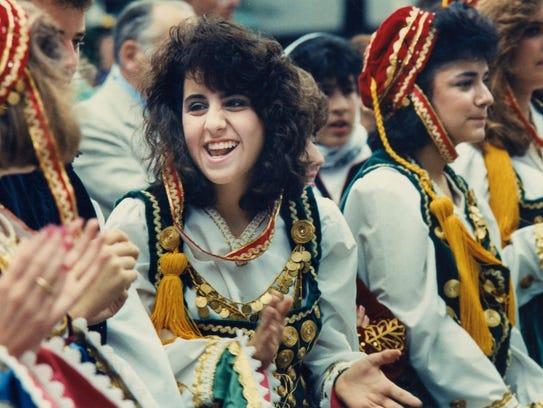 Lena Kanelos, 16, of the Leventia dance group, shares