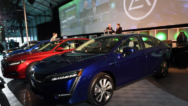 The Honda Clarity is awarded the 2018 Green Car of the Year from Green Car Journal during the auto trade show AutoMobility LA at the Los Angeles Convention Center November 30, 2017.