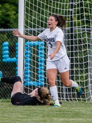 Kettle Moraine senior Blair Cruikshank (3) scored the goal in double overtime to send the Lasers to state.