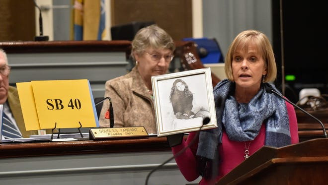 Mary Cairns, a family friend of Lindsey Bonistall, a University of Delaware student murdered in 2005, speaks about legislation by Delaware House members to end the death penalty. Lawmakers rejected the legislation following emotional testimony.