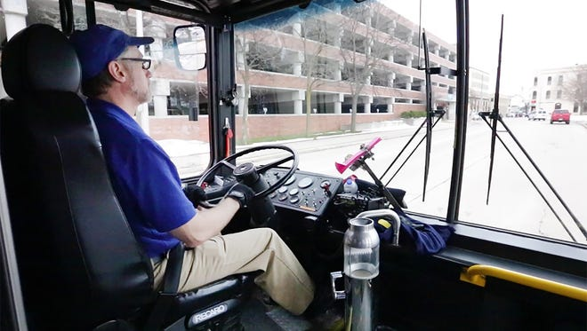 City of Fond du Lac bus driver Dan Vores navigates his route.