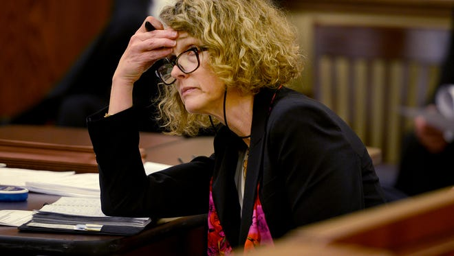 Defense Attorney Jennifer Thompson listens to prosecuting attorney Jennifer Nichols during a hearing in the Holly Bobo case Wednesday in Decatur County.