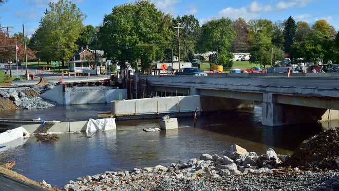 Bridge replacement work continues today in the 1900 block of Philadelphia Avenue. J.D. Eckman of Atglen has the $3.8 million contract to replace the structurally deficient bridge. The bridge, located in the area known as Red Bridge, was built in 1917.The project is to be completed by May 2019.