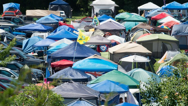 View of tents in the camping area at the Firefly Music Festival in Dover.