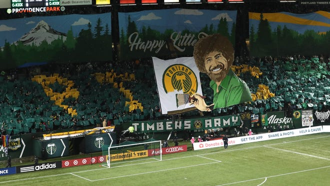 The Timbers Army present a tifo before the Timbers game against Minnesota United at Providence Park. Their U23 team announced four local signings last week.