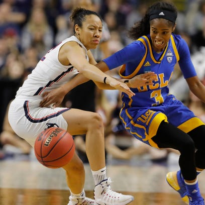 UCLA Bruins guard Jordin Canada (3) works for the ball