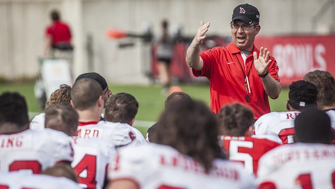 Head coach Pete Lembo addresses his team after the scrimmage. He said the many returners on offense helped everything move smoother on that side of the ball. Ball State?s offense scored on six of 18 drives with five touchdowns. Head coach Pete Lembo addresses his team after a Spring scrimmage Saturday.