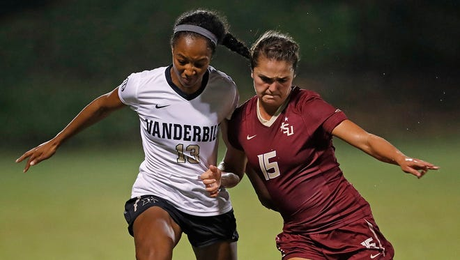 Olivia Bergau fights for the ball in FSU's 3-0 win over Vanderbilt earlier this seasonl