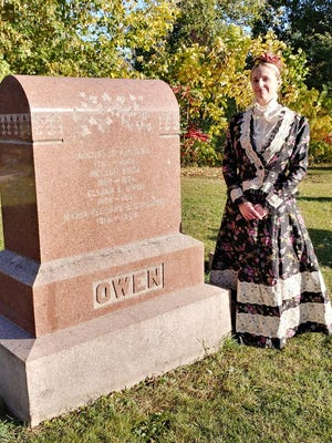 """Alisha Prunty, a member of Vermillion Players, will portray Maria Tracey Fellows Buck Owen for the """"Reflections on the Riverbank"""" cemetery walk this weekend."""