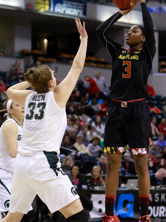 Maryland guard Kaila Charles (3) shoots the basketball defended by Michigan State center Jenna Allen during the first half of an NCAA college basketball game in the semifinals of the Big 10 conference tournament, Friday, March 4, 2017, in Indianapolis. (AP Photo/R Brent Smith)