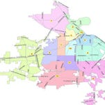 A map of Shreveport divided by districts.
