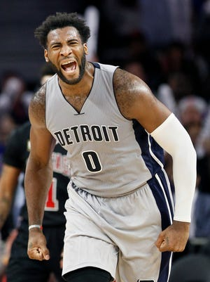 Detroit Pistons' Andre Drummond (0) reacts after getting a rebound and sinking a two-point basket to extend their lead to 94-87 against the Chicago Bulls during overtime of an NBA basketball game Friday, Oct. 30, 2015, in Auburn Hills, Mich. The Pistons defeated the Bulls 98-94 in overtime.