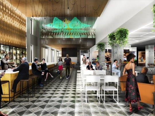 An artist rendering of the DECO food hall which will open in downtown Wilmington April 18.