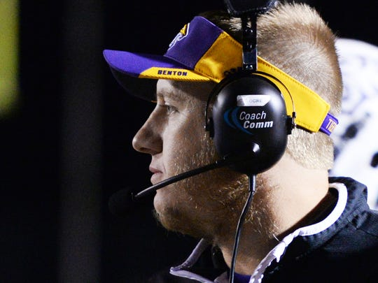 Benton football coach Reynolds Moore during their game