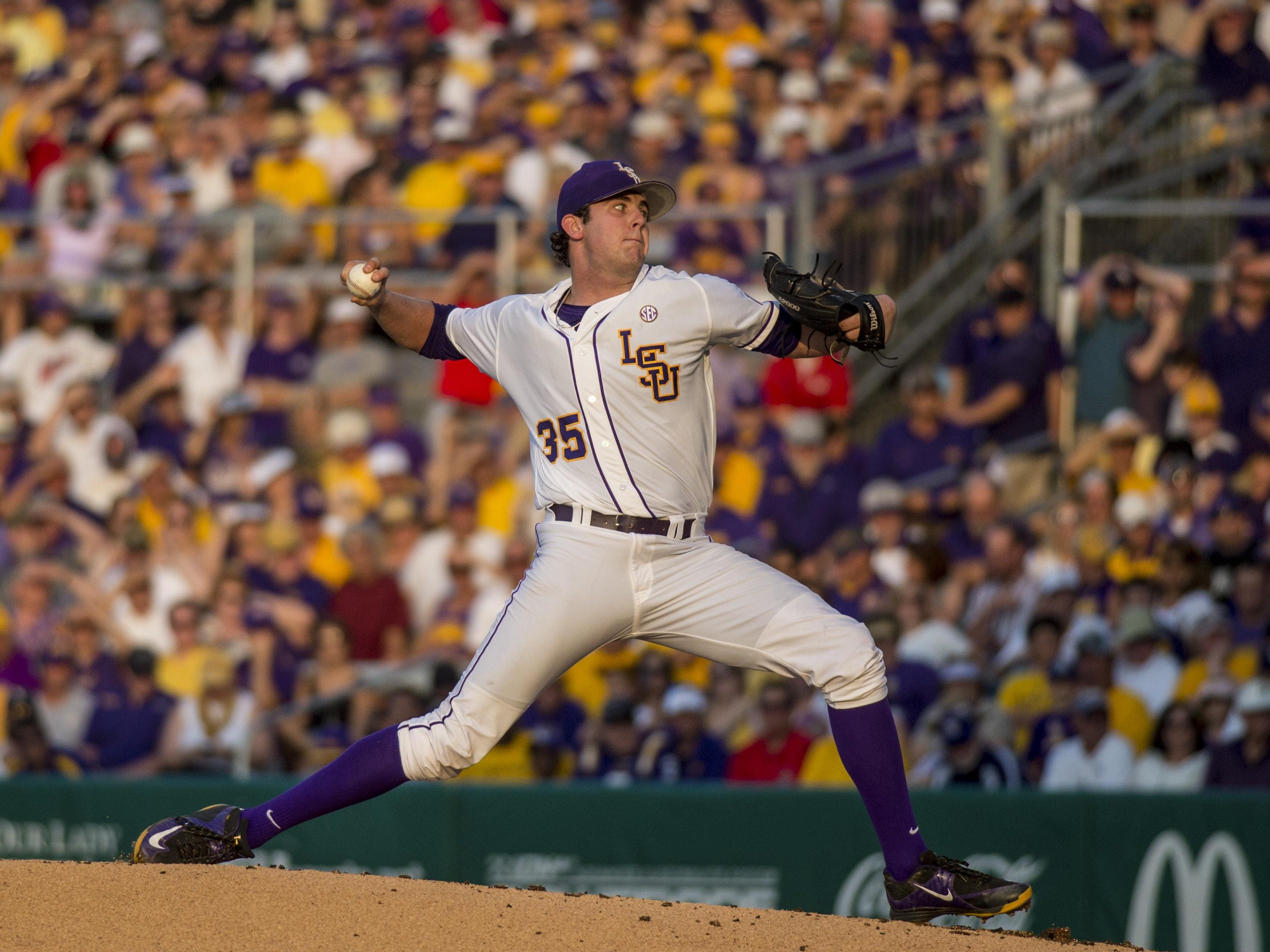 LSU Tigers pitcher Alex Lange (35) was honored as the national Freshman Pitcher of the Year.