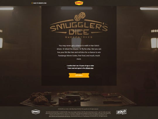 "Fans can try their hand at ""Smuggler's Dice"" on Dennys.com"