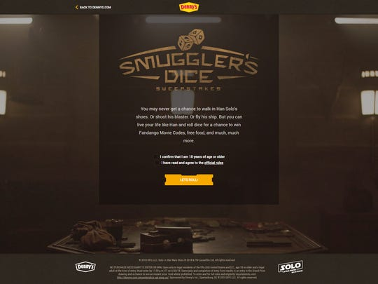"Fans can try their hand at ""Smuggler's Dice"" on Dennys.com and try to win free food or Fandango movie codes."