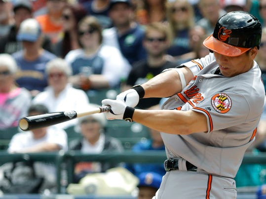 FILE - In this July 3, 2016, file photo, Baltimore Orioles' Hyun Soo Kim hits a double in the second inning of a baseball game against the Seattle Mariners n Seattle. Kim batted .178 during spring training last year but found his groove in May. (AP Photo/Ted S. Warren, File)