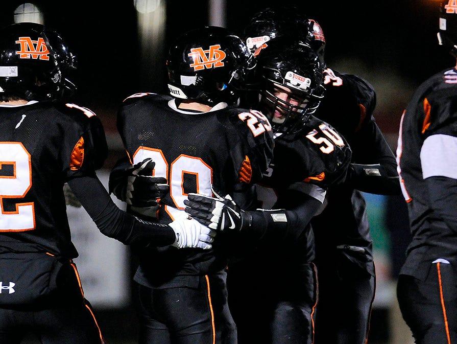 Marlboro High School celebrates a touchdown against Our Lady of Lourdes on Nov. 7, 2014 in Kingston.