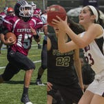 Jerry McPeak runs the football last season against Union-Endicott and Abbie Topping gets set to shoot against Vestal in December. The seniors were named Elmira High School's top athletes for the 2014-15 school year.