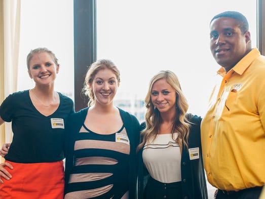 Megan Stock (l to r), Sandy Weaver, Hannah Foster and Jeremy Meriwether from Nashville Predators.