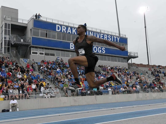 Donald Scott wins the triple jump at 57-0 (17.37m) during the USA Championships at Drake Stadium.