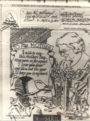 A Mother's Day card sent by Raymond Wittbrodt, a Flint native killed during World War II