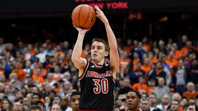 SYRACUSE, NY - FEBRUARY 13:  Ryan McMahon #30 of the Louisville Cardinals shoots the ball against the Syracuse Orange during overtime at the Carrier Dome on February 13, 2017 in Syracuse, New York. Louisville defeated Syracuse 76-72 in overtime. (Photo by Rich Barnes/Getty Images)