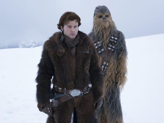 Han Solo (Alden Ehrenreich, left) and Chewbacca (Joonas