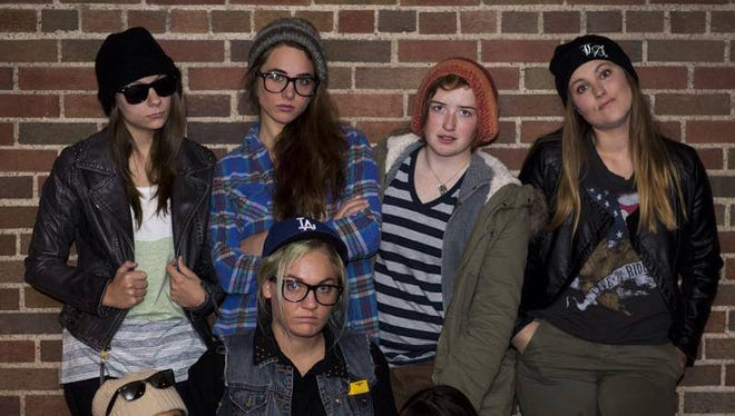 The Janice Ian Experience includes (back row, from left) Elena Bruess, Annie Nicole, Caitlin Dorsett and Kate Chinlaud. Front row, Sarah Cho, Lani Engstrom and Julia Lippert.  Most are U of Iowa students or graduates who have come to the Iowa City area from Cedar Falls, Des Moines, Okoboji, Chicago, Moline, Detroit and Santa Barbara.