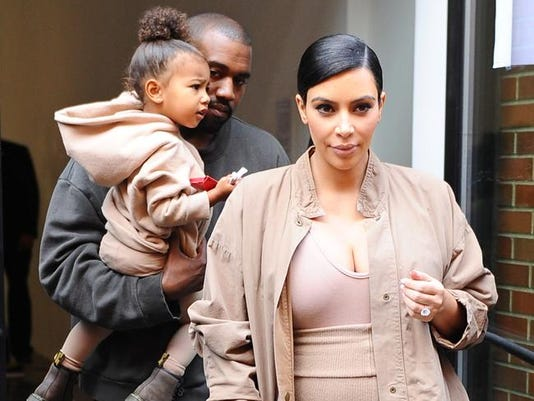 Kim and Kanye with daughter North