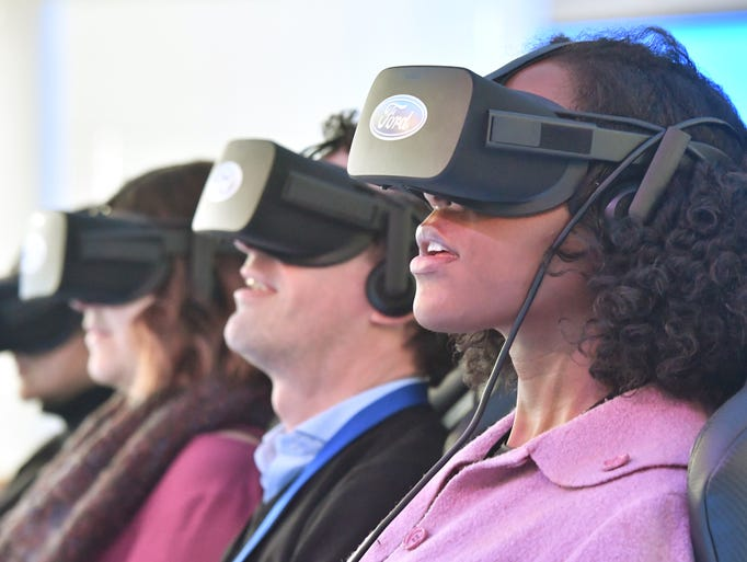 Loren Fanroy enjoys the Ford Future Mobility VR Experience
