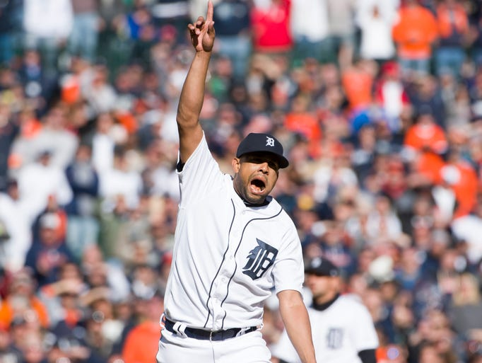 Detroit Tigers closer Francisco Rodriguez celebrates