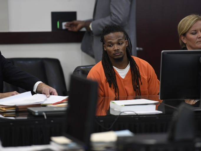 Brandon Banks sits in the courtroom after being sentenced