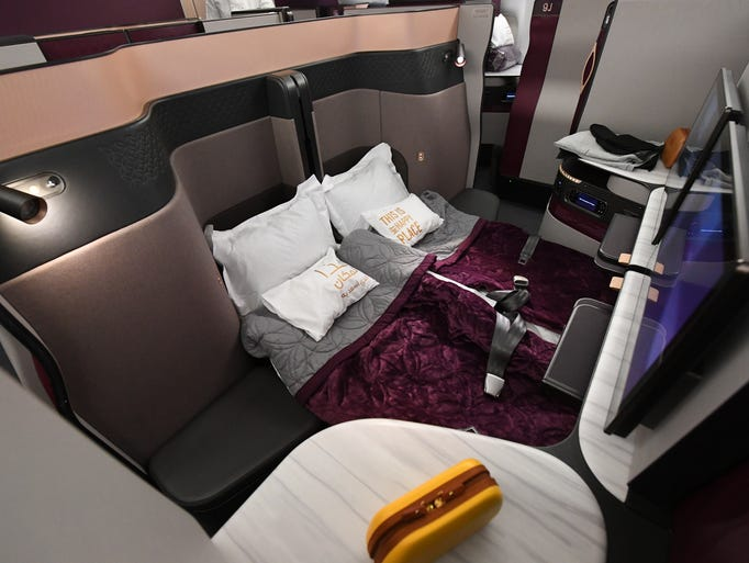 The double-bed arrangement in Qatar Airways' new Qsuites
