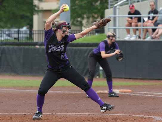 Mosinee pitcher Sydni Gburek winds up a pitch against Whitnall during the WIAA Division 2 state championship game Saturday at Goodman Diamond in Madison.